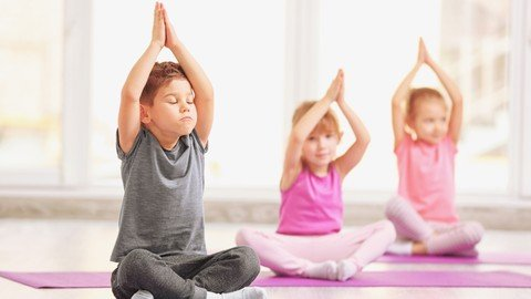 Children practising yoga to be calm